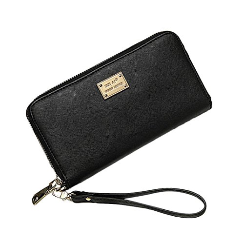 Wallet Womens Black (Leather Wallets for Women Long Large Capacity Purse with Wristlet Strap (Black))