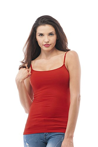 Cami Camisole Built in Shelf BRA Adjustable Spaghetti Strap Tank Top Plus Size (2XL, Deep Red) ()
