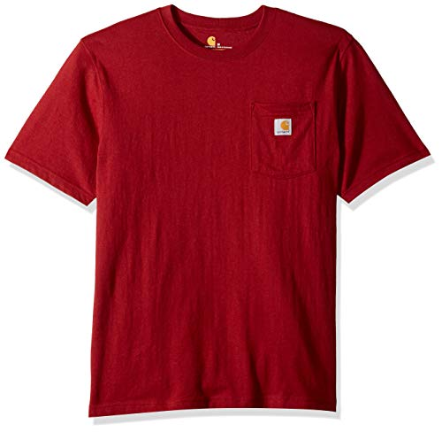 Carhartt Men's K87 Workwear Pocket Short Sleeve T-Shirt (Regular and Big & Tall Sizes), Sun-Dried tomato heather, 2X-Large
