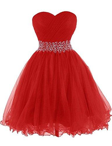 Vestido Rojo Homecoming Vestido Noche de de Vestido Vestido Corto Fiesta Tirantes cóctel de Tul de Mujer JAEDEN Sin 6xwFCqxRg
