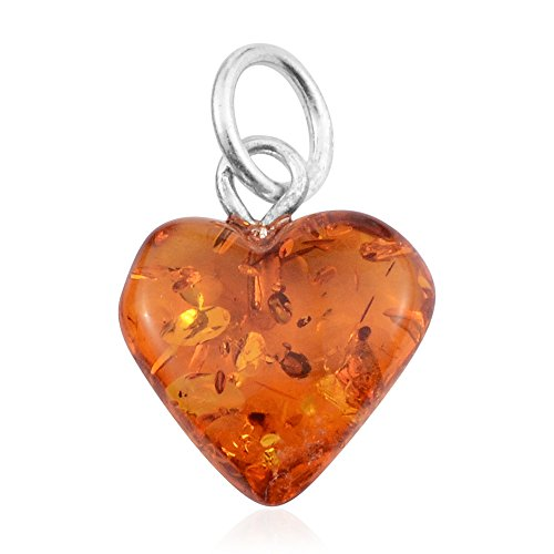 Orange Amber 925 Sterling Silver Strand Love Heart Valentines Pendant for Women Jewelry Gift (The Best Of Amber Lynn)