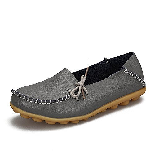 SUNROLAN Womens Leather Cowhide Casual Lace-up Slipper Slip-on Loafers Flat Driving Shoes ()
