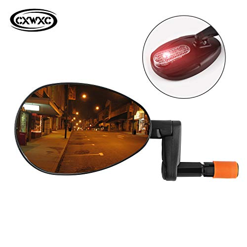 - Bike Bar End Mirror, Bicycle Handlebar Rear View Mirrors with Safe Light, Convex Glass Lens for Clear Wider Rearview, Gift for Cyclists
