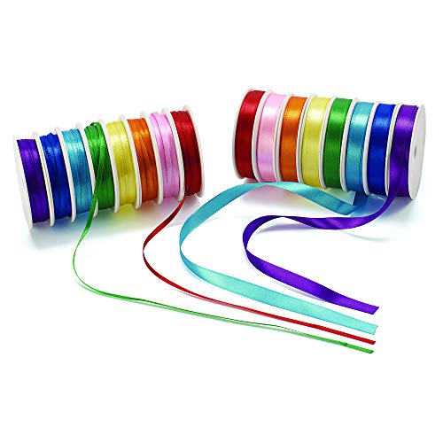 Colorations Satin Satin Ribbon, 400 Feet 16 Spools (Pack of 16) ()