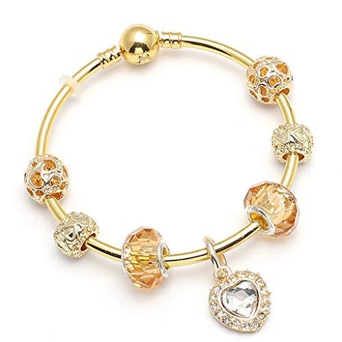 Present for Girlfriend Gold Colour Charm Bracelet; Bangles along with Love Heart Crystal Necklace fit Fine Bracelets Ladies Wedding Jewelry Gift Design (14k Amethyst Slide)