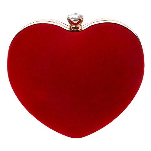 tracolla cuore Borsa forma a a cuore Messenger borsa di Borsa a Piccola Messenger a di tracolla rossa forma rqr8567