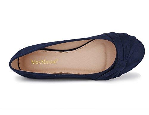 Marine Pour Bleu Maxmuxun Ballerines Femme wBxqZHY6p