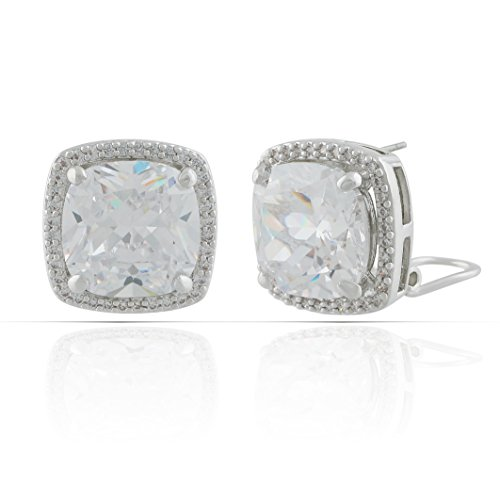(JanKuo Jewelry Rhodium Plated Cushion Cut Halo Cubic Zirconia French Clip Earrings)
