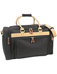 Large Deluxe Travel Luggage Bag in Black and Khaki 22