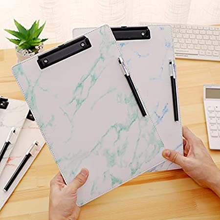 Green A4 Clipboard Marble Leather Business Meeting Document Clip Boards Contract File Folder