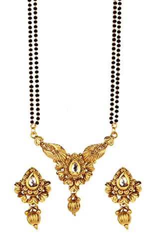 Bindhani Indian Bollywood Bridal Wedding Gold Plated Mangalsutra Pendent Necklace Jewelry Set for Women ()