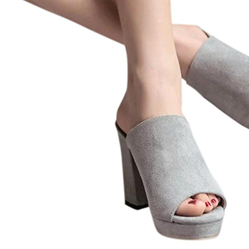 hunpta Slippers, Ladies Women Square High Heels Slipper Flip Flop Sandals Fish Mouth Shoes Gray