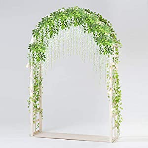 Bomarolan Wisteria Artificial Silk Vine Flowers Fake Hanging Garland for Wedding Arch Backdrop Decor 3 5/8 Feet Pack of 12 Pieces(White) 27