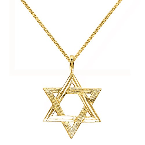 Star Of David Yellow Necklace - 14k Yellow Gold Star David Religious Pendant 1.5-mm Flat Wheat Chain