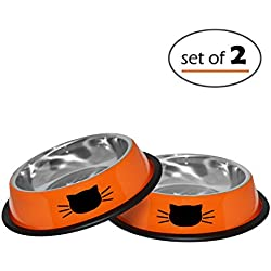 Cat Bowls Set By Petfuren - Non-Skid Stainless Steel Cat Dish 8 Ounce with Orange Color and Cute Cat Face for Pet Food & Water Bowl (Set of 2)