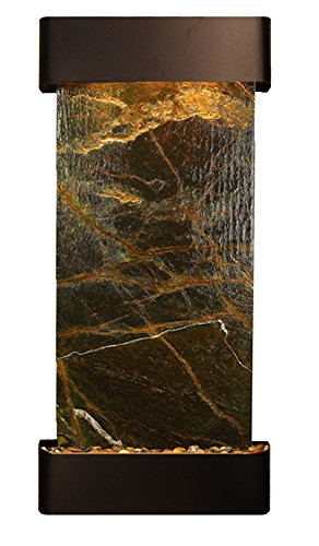 Adagio Water Fountains - Cascade Springs Water Feature with Blackened Copper Trim and Round Edges (Rainforest Green Marble)