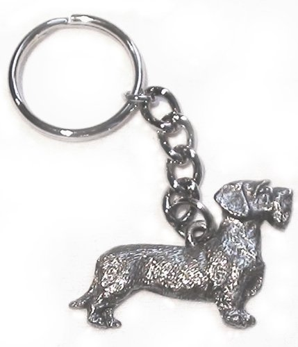 Fine Pewter Keychain - Wire Haired Dachshund Dog Fine Pewter Keychain Key Ring
