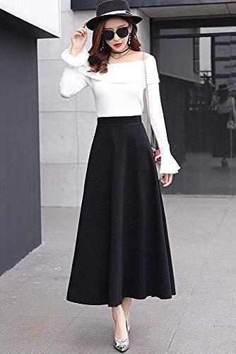 Unie Ligne Taille Jupes Taille plisse lastique Couleur Laine Automne Noir Femme Hiver lgant A Haute Chaud Longue de Rtro Jupe p6wZxX