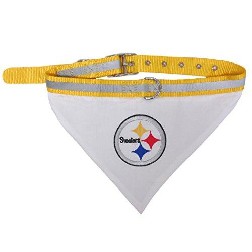 Image of NFL BANDANA - PITTSBURGH STEELERS PET BANDANA with Reflective & Adjustable PET COLLAR, Small