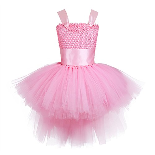 YiZYiF Girls Kids Handmade Hi-Low Party Birthday Pageant Wedding Tutu Dresses Dance Costumes Pink 3-4 by YiZYiF