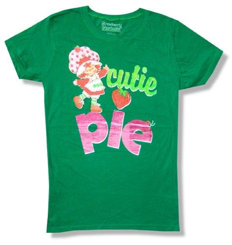 Strawberry Shortcake Cutie Pie Girls Juniors Green T Shirt (Small)