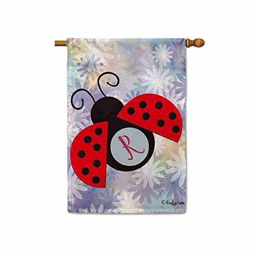 KafePross Colorful Ladybug and Ladybird Flowers Spring Summer House Flag for Outside Monogram Initial Letter R Floral Decor Banner 28x40 Inch Print Double Sided