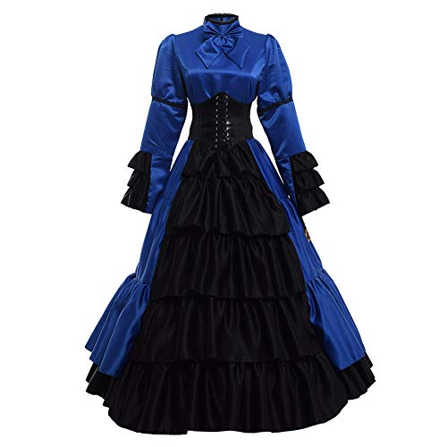 GRACEART Women Gothic Victorian Rococo Dress Costumes Blue XXL