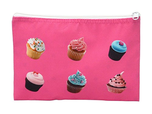 Ellie Korde - Ava Pink Velour Cupcake Cosmetic Case with Printed Satin Lining