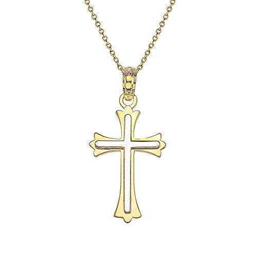 14k Gold Boys & Girls Two Tone Cross Necklace - Necklace Gold Two Cross Tone