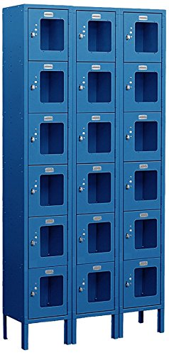 Salsbury Industries S-66365BL-U Six Tier Box Style 36-Inch Wide 6-Feet High 15-Inch Deep Unassembled See Through Metal Locker, Blue