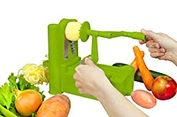 Brieftons 5-Blade Spiralizer: Strongest-and-Heaviest Duty Vegetable Spiral Slicer, Best Veggie Pasta Spaghetti Maker for Low Carb/Paleo/Gluten-Free Meals, With 3 Exclusive Recipe eBooks - Green