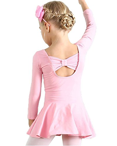 AMOUR TIME Kids Girls Classic Long Sleeve Dance Ballet Dress Bowknot Design Leotard (A-Pink, Age for 6-7Y)