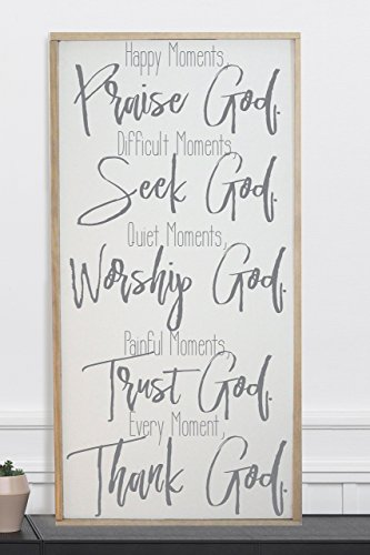 Happy Moments Praise God Framed Wood Home Décor Sign