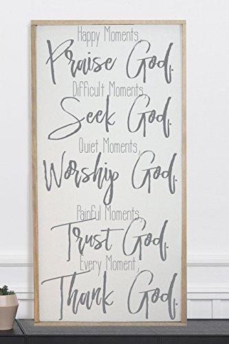 Happy Moments Praise God Framed Wood Home Décor Sign