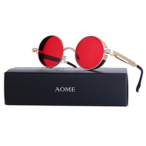 AOME Gothic Steampunk Round Sunglasses Metal Frame Mirrored Circle Lens Glasses (Gold&Red, - Lenses Made Contact Glass Of