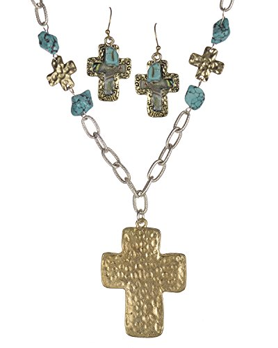 Jewelry Nexus Hammered Cross Imitation Abalone and Blue Bead Necklace & Earring Set -