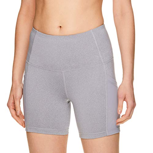 Reebok Women's Compression Running Shorts - High Waisted Performance Workout Short - High Speed High Rise Grey Heather, - Tennis Shorts Reebok
