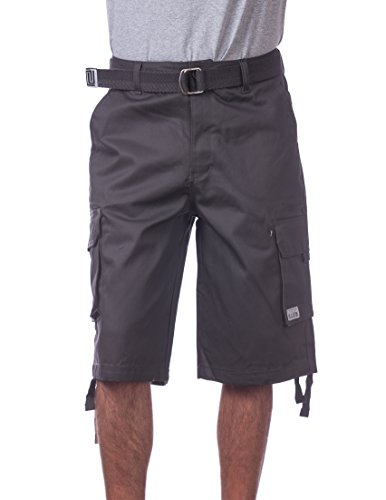 (Pro Club Men's Cotton Twill Cargo Shorts with Belt, 42