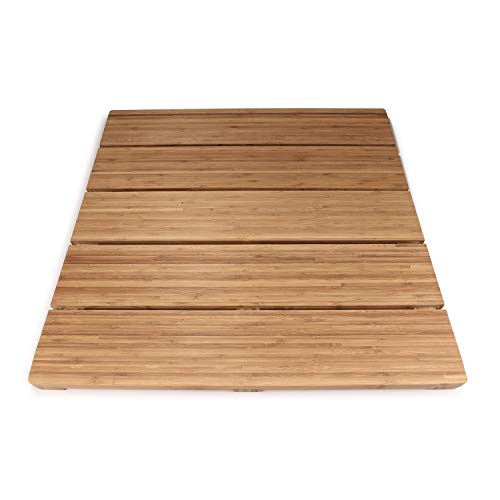 BambooMN Brand - Spa Style Raised Bamboo Bathmat - Extra Large Square