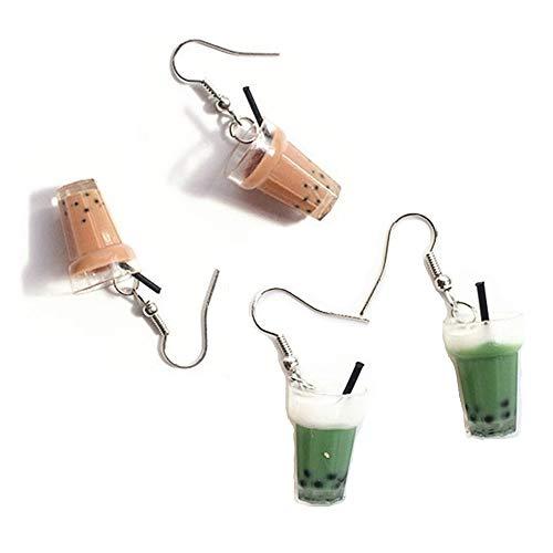 JOYID 2Pairs Pearl Milk Tea Dangle Earrings Green Boba Bubble Tea Funny Earrings for Women Girls Valentine's Day Earrings-Brown and Green 2pairs