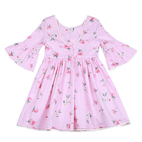 - Flofallzique Girls Dress Baby Girls Floral Vintage Dress Holiday Backless Dress for Toddler (7, Light Pink)