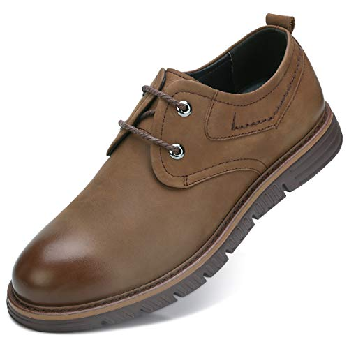 CAMEL CROWN Men's Oxfords Shoes Autumn Suede Geniunie Leather Wingtip Wide Foot Lightweight Casual Dress Bussnis Shoes(Brown,7D(M) (Light Brown Suede Footwear)