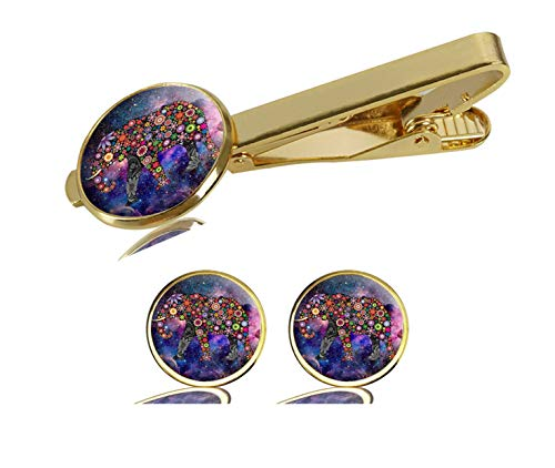 LCTCKP Image Custom Fashion Men's Initial Shirt Cufflinks Tie Clips Formal Wedding Jewellery Set - Gold (The-Cheerful-Elephant)