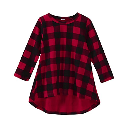 ❤️Mealeaf❤️ Baby Girls Boys Clothes & Toddler Infant Kids Baby Girl Plaid Print Dress Outfits Clothes Dress Print Tops+Pants Casual Set Clothes (6-12 Months Old, Red)
