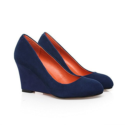 Solid Round Pumps High Heels Blue Materials Pull Shoes Women's Toe WeenFashion Blend Closed On 8xApwZq