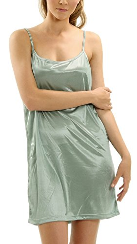 Women Basic Silky Satin Camisole Chemise Full Slip Nightgown Sleepwear- Under Sheer Sweaters, Dresses, Tunics (Mint, Medium)