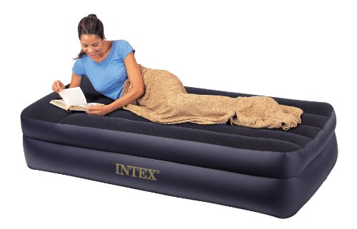 Intex Pillow Rest Raised Twin Size Inflatable Air Bed with Built In Electric Pump, Outdoor Stuffs