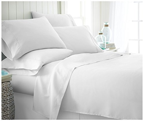 ienjoy Home 6 Piece Home Collection Premium Ultra Soft Bed Sheet Set, King, White from ienjoy Home