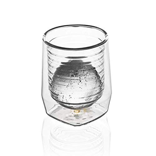 Aged & Ore - The Duo Glass | Hand Blown Double Walled Whiskey Glass Gift Set with Free Silicone Ice Molds | Integrated Measuring Lines for the Perfect Cocktail | Durable Modern Tumbler | Set of 4 by Aged & Ore (Image #5)
