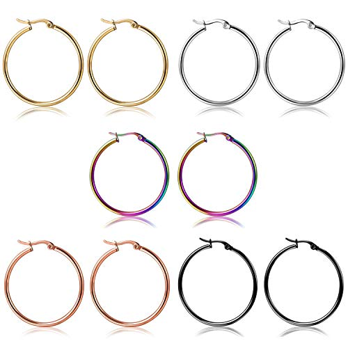 Orris Pack of 5 Different Colors in Same Size, Titanium Steel Colorful Ear Hoop Earrings Set for Women Girls (4 cm)